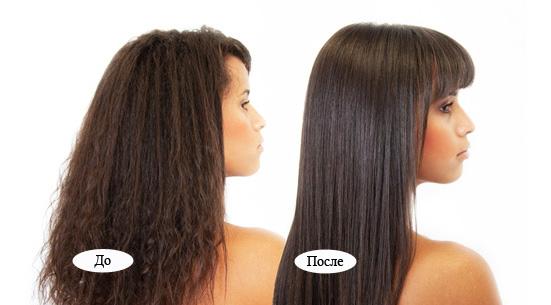 Кератинивое выпрямление волос